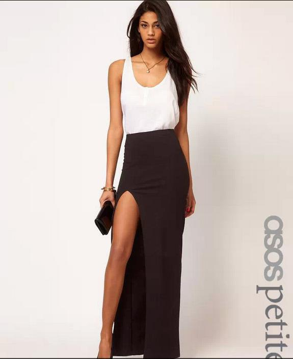 2017 2014 New Fashion Sexy Bodycon Skirt Women High Slit Maxi Long ...