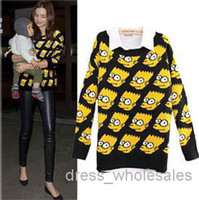 bart simpson cartoon - Fashion Cute Bart Simpson Sweater Loose Outwear Funny Cartoon Pullover Knitted Sweater Women