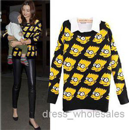 Wholesale Fashion Cute Bart Simpson Sweater Loose Outwear Funny Cartoon Pullover Knitted Sweater Women