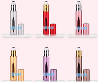 Wholesale 10ML metal aluminum Portable Roll on refillable Empty Glass Bottle for Essential Oils eye Massage Perfumes ml Dropper HK Post free