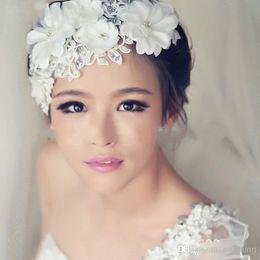Wholesale 2015 Hot Sale White Bride Hair Accessories Bridal Headwear Korea In Stock Wedding Bridal Crystal Flora Hair accessories WX