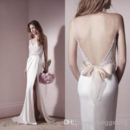 Wholesale 2014 delicado Lihi Hod nupcial vestido encaje blusa moldeada correa espagueti correas cuello V Backless vaina alta lateral Slit vestidos de novia