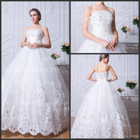 dresses in china - Lace Ball Gown Wedding Dresses with Strapless Floor length Applique New Arrival Elegant Bridal Gowns Big Discount Made in China BZP0384