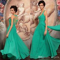 Cheap 2014 Aqua Spaghetti Straps Beading Chiffon Long Sleeveless Custom Made Prom Dress Evening Dress Ball Gown Party Dress Free Shipping BH