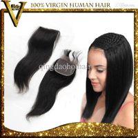 Cheap Cheap silk base lace Closure Brazilian Hair Straight, Unprocessed Virgin Brazilian Hair Straight Closures Invisible Knots human top hair