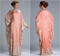 Wholesale Modest Popular Beach Peach Coral long sleeves Evening Dress kaftan dubai Dress Chiffon Lace Long Sleeves Lace fitted Muslim Evening Gowns
