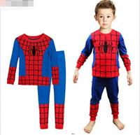 Wholesale Baby spider man printing pajamas set children clothes sets kids pieces set long sleeve pure cotton tops pants JL