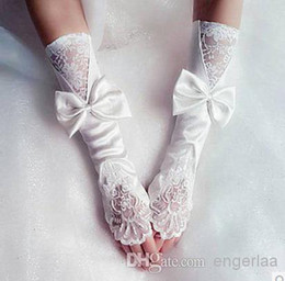 Wholesale In Stock Brida Gloves Fingerless Bow Under Elbow Length Long Lace Wedding Accessories Ivory Made In China WX