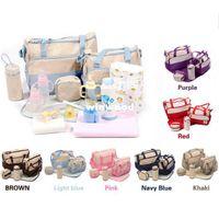 Wholesale Fashion Mummy Bag For Baby Nappy Bags Red Dark Blue Light Bule Pink Purple Black Khaki set Color Set