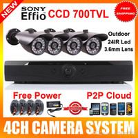Cheap 4 channel sony 700TVL Bullet Outdoor waterproof IR Cameras CCTV video System 4ch HD full 960H D1 recording HDMI 1080P DVR recorder Security