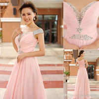 long sleeve pink bridesmaid dresses - Real Image Cheap Pink Chiffon Bridesmaid Dresses V Neck Short Sleeve Sequin Beads Backless A Line Cheap Long Evening Dresses SD127 SSJ