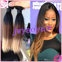 Cheap HOT Ombre Color Weaves 12~30 Inch Brazilian Straight Human Hair Weft 100% Virgin Remy Hair Extensions 3pcs lot DHL Free Shipping