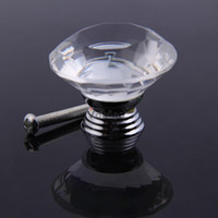 Cheap V1NF 5X 40mm Diamond Shape Clear Crystal Glass Drawer Cabinet Pull Handle Knob