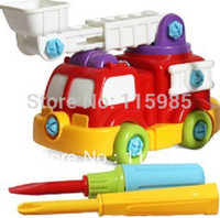 Cheap 1set fire fighting truck model children kids vehicle toys building dismounting toys craft toys hands on educational freeshipping