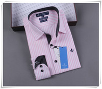 Cheap HOT wholesale -- Brazil Brand Dudalina Men's Business Dress Slim fit shirt Camisa masculina Pink Striped Shirts for Men Male Freeshipping