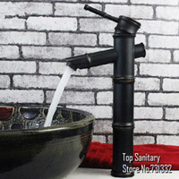 Wholesale 3 sections Oil rubbed bronze Black Bathroom Bamboo basin sink Mixer faucet tap spout hansgrohe cozinha torneira banheiro