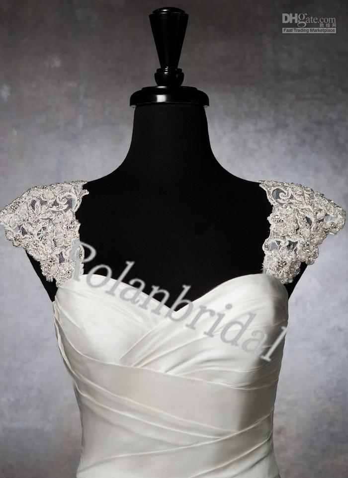 Wedding Dress Accessories Straps : Cap sleeve lace appliques beaded for wedding