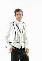Cheap 2014Top Custom Made White Fit Groom Tuxedos One Button Best Men Suit Wedding Party Bridegroom Classic Bussiness New(Jacket+Pants+Tie+Vest)