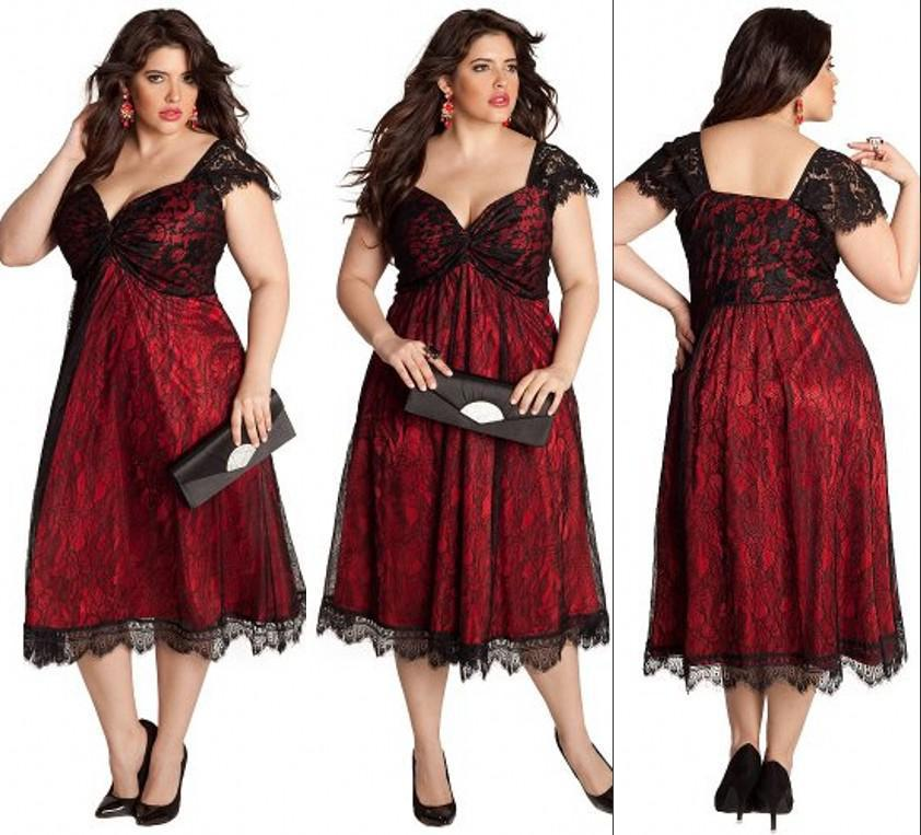 Elegant 2014 Red Tea Length Plus Size Evening Dresses Square Neck ...