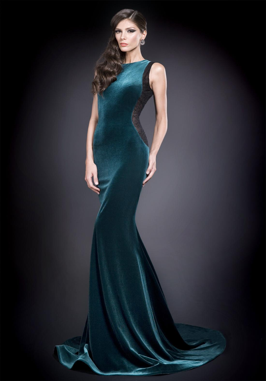 Vintage Dark Green Velvet Evening Dresses Black Lace Panel Side ...