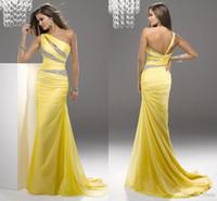 Wholesale Expensive Elegant Yellow Prom Dresses UK Shop Olesa Mermaid Long Chiffon One shoulder New Design Under Custom Made Evening Dresses
