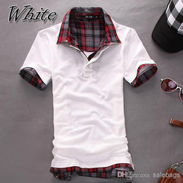 Wholesale New Arrival British style Mens Casual Slim Fit Double turn down collar T shirts Short sleeve color shirts W59 salebags