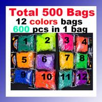 Cheap High Quality 500 bags (600 pcs Bands +24 pcs S Clip + Hook ) Colorful Rubber Bands DIY Woven Machine Loom Bands Bracelet Wrist
