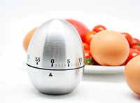 Wholesale pc Silver Stainless Steel Egg Timer Kitchen Cooking Tools Mechanical Dial Timer Retail original hight quality