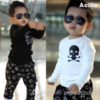 Cheap Hot Sale 2014 Autumn Baby Boys Skull T Shirt Tops Cool Boys Kids Children T Shirt Cotton Clothing Free Shipping eck043