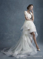 Wholesale 2015 Customer Made Hi Lo Lace Applique Cascading Ruffles Wedding Dresses Scoop Neck Sleeve Zipper Back Chapel Train Bridal Gown