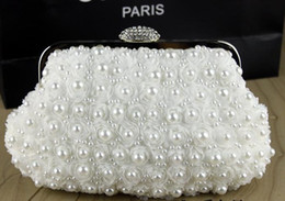 Wholesale In Stock Wedding Accessories pearls Floral Party Prom Hand bags Bridal Hand Bags White