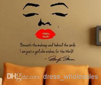 Wholesale Marilyn Monroe Wall Decal Removable Art Home Decor Quote Face Red Lips Large Nice Sticker cmx90cm