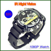 Wholesale Free Shippng Spy Watch Camera V202 Full HD P Watch Camera GB Waterproof IR Night Vision Separate Voice Recording