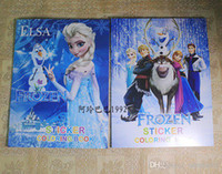 Wholesale Frozen Cartoon cm Kids Coloring Book with Stickers Drawing book Children Gift Hotsale gmy