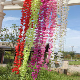 Wholesale -Artificial Silk Violet Colorful Flower Vine Garland Wedding Garden Plant Decor#E801