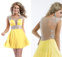 Cheap 2014 Sexy Yellow Cheap 8th Homecoming Dresses A-Line High Neck See Through Bead Short Prom Dress Girls Graduation Party Cocktail Dress Gowns
