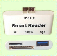 Cheap Samsung Note3 S5 Smart Card reader multifunction 3in1 TF card Micro USB SD OTG HUB adapter for Samsung Galaxy Note 3 S5 DHL