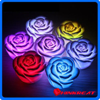 Cheap Chirstmas Gift Romantic 7 Color Changing LED Lamp Rose Flower Candle Light Room Decoration Light Free Shipping