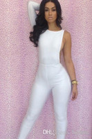 Recensioni Tute delle donne-Di nuovo modo donne sexy delle tute pagliaccetti Ragazze Halter calzamaglia solide singolo pezzo pantaloni maniche Lady in bianco e nero a due colori Set M1190