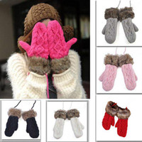 Wholesale 1pair New Hot Women Rag wool Winter thicking Mitten Knitting Wool Fur Halter Wrist Gloves Colors