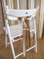 Wholesale Gorgeous Champagne And Ivory Satin Wedding Decorations Chair Sash Party Banquet Fast Delivery Bow