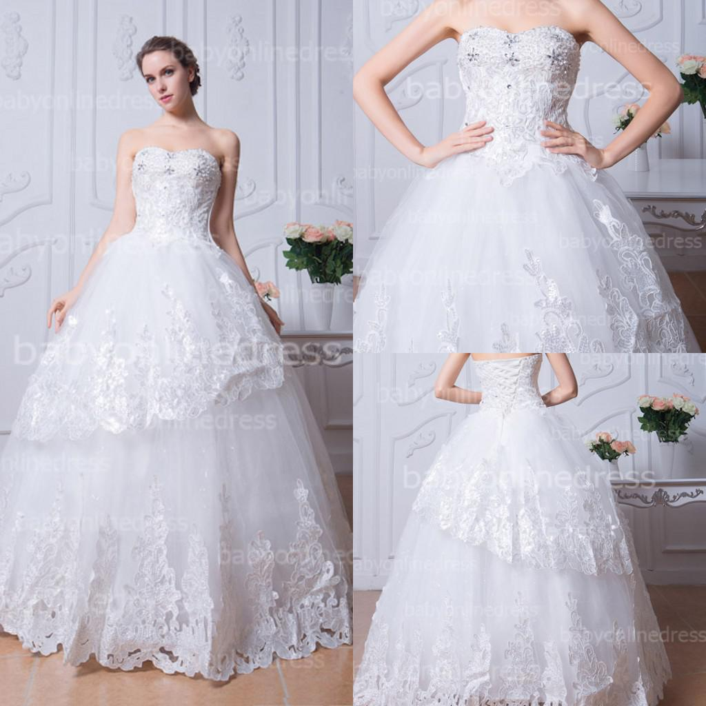 2015 White Lace Ball Gown Wedding Dresses 2014 Bling