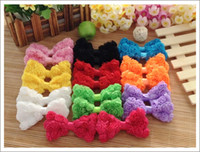 Wholesale 20pcs Baby Girl s hair accessories inch rose flower Lace bowknot hair bows for hairband headband hairclip