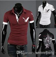 Cheap HOT New men's t-Shirts Mens Casual Striped fashion embroidery Short Sleeve collar shirt eagle England shirt