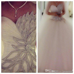 Wholesale 2014 Modern Sweetheart Corset Princess Bridal Ball Gown Brooch Beaded Tulle Brush Train Cathedral Church A Line Wedding Dresses with Beading