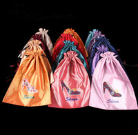 drawstring shoe bag - Embroidered Shoe Case Shoes Cover Shoe Pouch Mix Color Silk Drawstring Two Layer Packing Bags