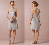 best of best - 2014 Best Style Maid of Honor Dress A Line Cheap Crew Sheer Back Pleats with Belt Short Mini Custom Made Lace Cocktail Bridesmaid Dresses