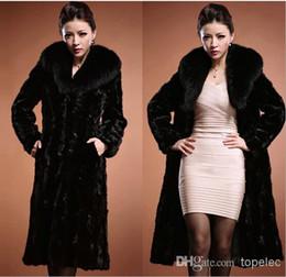 Новое прибытие зима теплая женщин Роскошные Поддельный норки Длинные куртки пальто Outwear искусственного меха воротник M1193