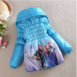 Wholesale New Arrival Winter Frozen Children s Down Coat Thickening Jirong Girl Long Cotton Padded Clothes Kids Down Jackets Outwear Fit Age WD04