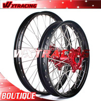 Wholesale 1Set Wheel rim Hub Spoke Motorcycle Wheels Front x1 Rear x2 For HONDA CRF R New Red